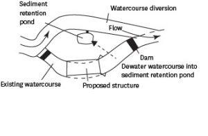 Flow, diverted past proposed structure in existing watercourse, through watercourse diversion then into existing watercourse past dam. Dewater watercourse into sediment redution pond.